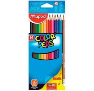 Lápis de Cor Color Peps com 12 Cores + 1 Black Peps HB + Apontador Maped