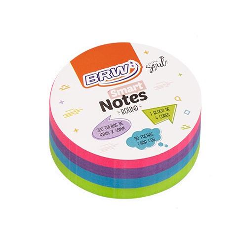 Bloco de Anotações Smart Notes Round 45x45 com 200 Folhas BRW