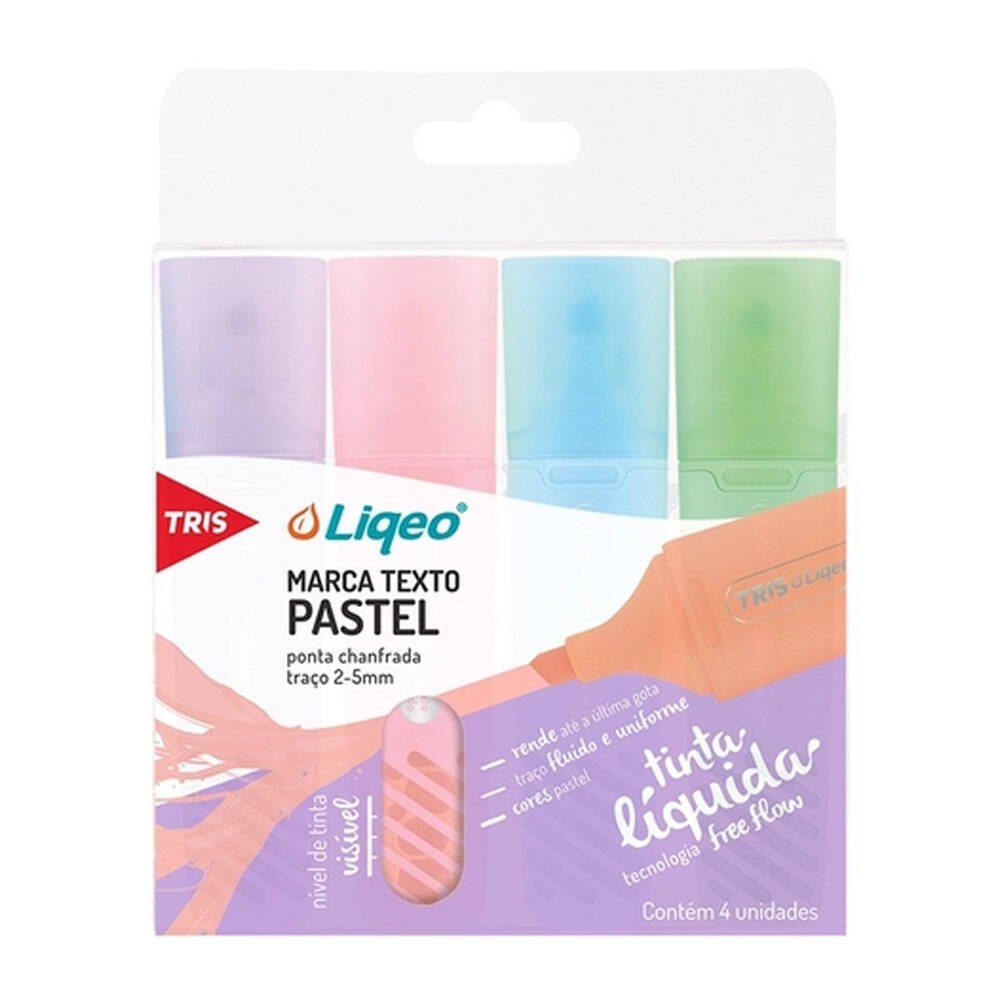 Kit Marca Texto Tris Liqeo Pastel com 4 Cores Tris