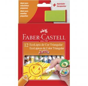 Lápis de Cor Ecolápis Jumbo 12 Cores com Apontador Sacapuntas Faber Castell