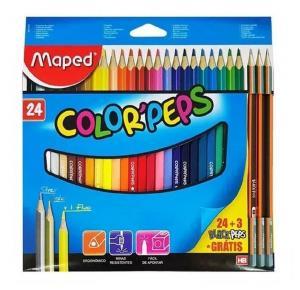 Lápis de Cor Color Peps com 24 Cores + 3 Black Peps HB Maped
