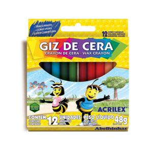 Giz de Cera 12 Cores Fino 48g Acrilex