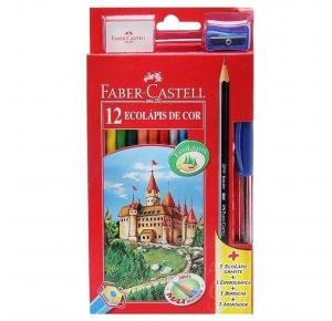 Kit Ecolápis 12 Cores + 2 Lápis Grafite + 1 Apontador + 1 Borracha Faber Castell
