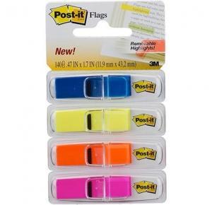 Marcador de Página Adesivo Post-it Flags Transparentes 4 Cores 11,9 mm x 43,2 mm - 140 folhas 3M