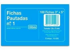 Ficha Pautada Número 1 - 3x5 com 100 Folhas Tilibra