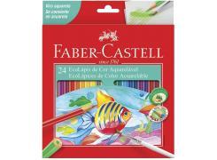 Lápis de Cor Aquarelável Ecolápis 24 Cores Sextavado Faber Castell