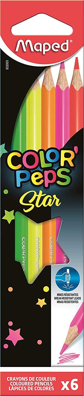Lápis de Cor Color Peps Fluo Neon com 6 cores Maped