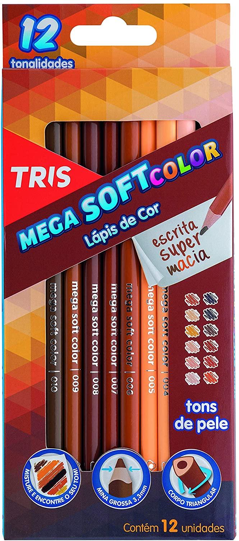 Lápis de Cor Mega Soft Color Tons de Pele com 12 Unidades Tris
