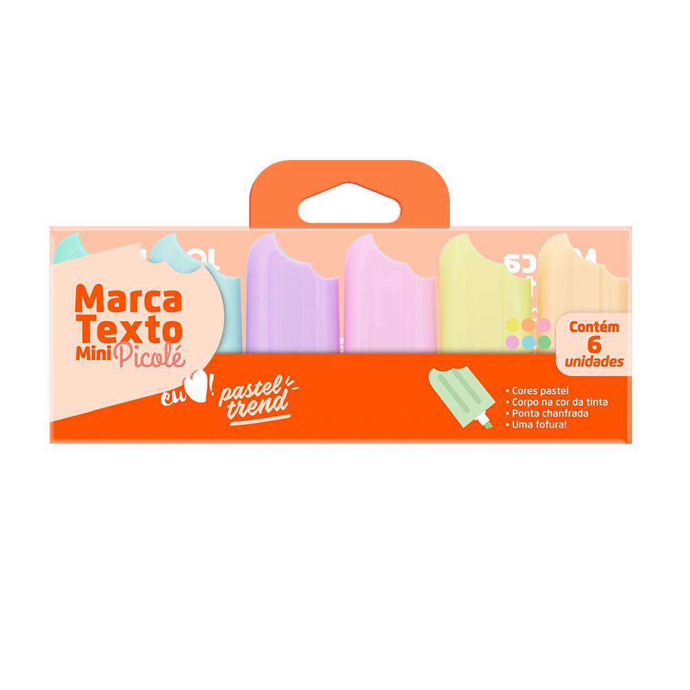 Kit Mini Marca Texto Pastel Picolé com 6 Unidades Leo &  Leo