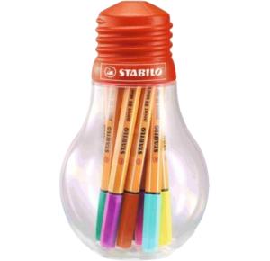 Estojo Lampada Caneta Stabilo Point 88 Mini Colorfull Ideas c/12