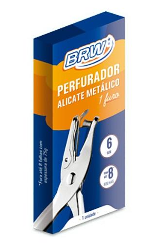 Perfurador de Papel Alicate 1 Furo Metálico BRW