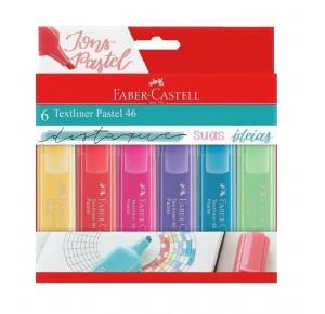 Estojo Marca Texto c/ 6 cores Textliner 46 Pastel FABER CASTELL