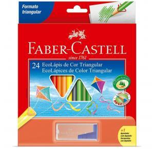 Lápis de Cor Ecolápis Triangular 24 Cores + 1 Apontador Faber Castell