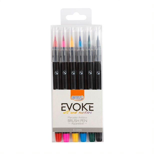 Caneta Marcador Brush Pen 6 Cores BRW
