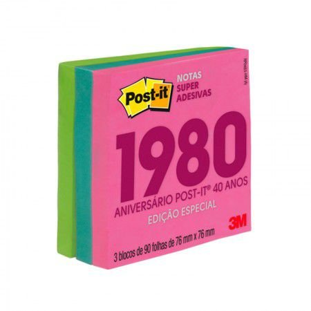 Bloco de Anotações Notas Super Adesivas 76X76 Coleção Anos 80 3M