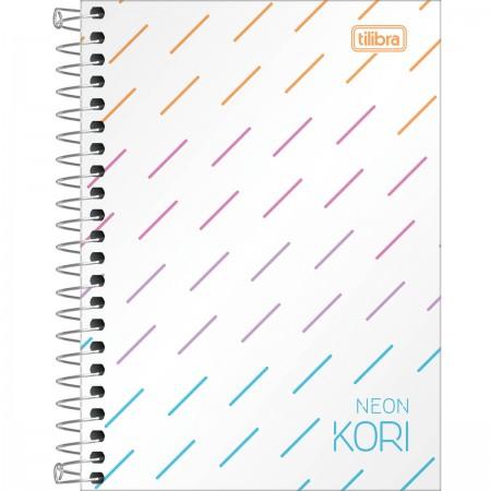 Caderneta Espiral 1/8 Neon Kori  sem Pauta Multicolor com 80 Folhas Tilibra