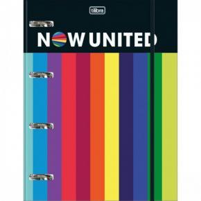 Fichário Argolado Cartonado Universitário com Elástico Now United Tilibra