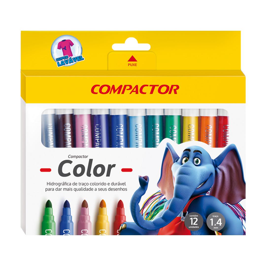 Caneta Hidrocor Compactor Color com 12 Cores 1-4mm