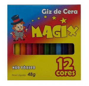 Giz de Cera 12 Cores Fino 48g Magix
