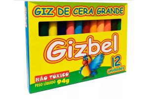 Giz De Cera Grosso 12 Cores Gizbel