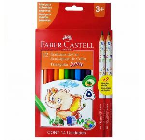 Lápis de Cor Ecolápis Triangular Jumbo 12 Cores + 2 Lápis Jumbo 2B,  Faber Castell