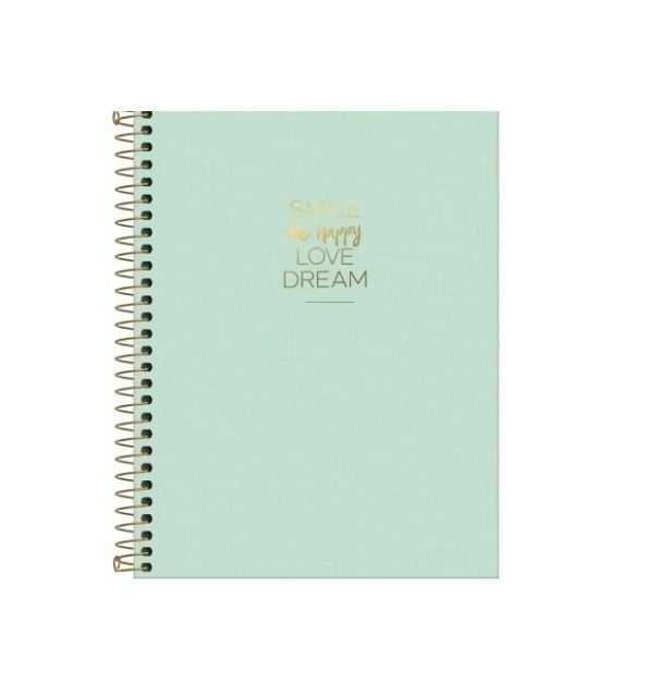 Caderno Colegial Happy Verde Pastel Capa Flexível 80 Folhas Tilibra