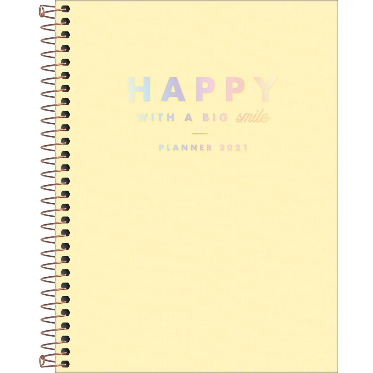Planner Espiral Happy Amarelo 2021 Tilibra