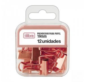 Prendedor de Papel Binder 19mm Rose Gold com 12 Unidades Tilibra