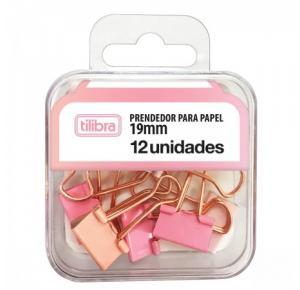 Prendedor de Papel Binder 19mm Rosa Pastel com 12 Unidades Tilibra