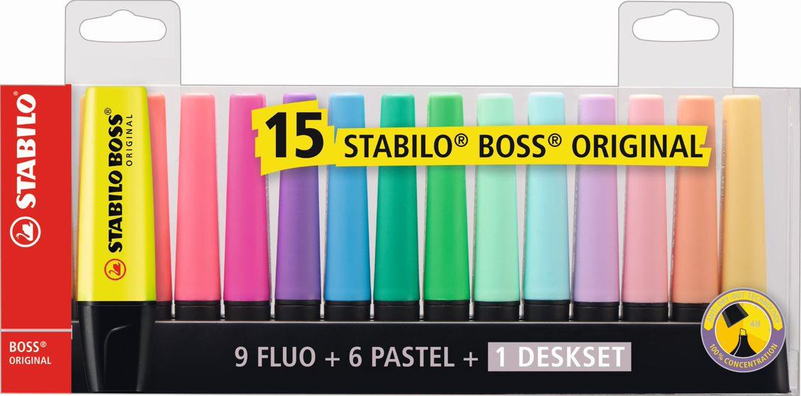 Kit Marca Texto Boss 15 Cores Stabilo