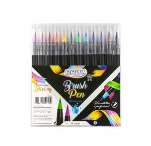 Caneta Marcador Brush Pen Aquarelável 12 Cores BRW